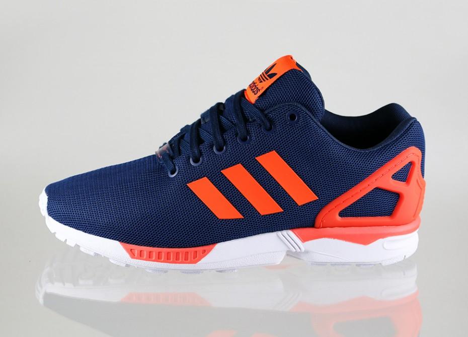 économiser b27bc 9b9d9 Réduction authentique adidas zx flux orange bleu Baskets ...