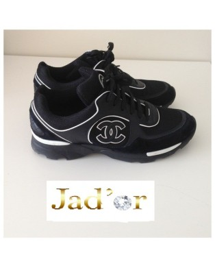 afc083b4dc6c Réduction authentique basket chanel femme noir et blanche Baskets ...
